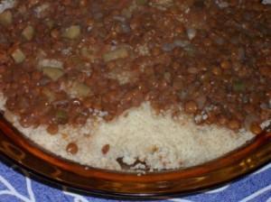 Couscous aux lentilles, à la noix de muscade et à la coriandre