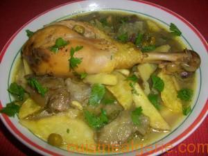 Tajine de poulet, artichauts et petits pois