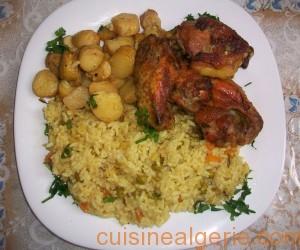 Poulet, riz et pommes de terre au four
