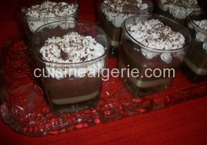 Verrines chocolat-café et crème pâtissière banane