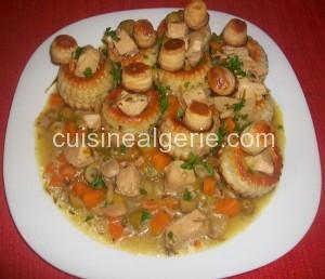 Vol-au-vent poulet, champignons et olives vertes