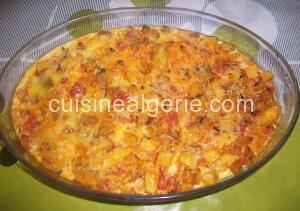 Gratin d'aubergines, pommes de terre et riz