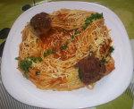 Spaghetti à la coriandre fraiche et viande hachée