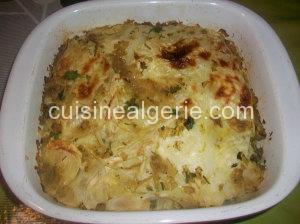 Chou farci au blanc de poulet, riz et œufs durs