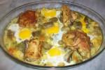 Poulet aux légumes et aux œufs