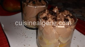 Verrines de poires et sa mousse de ricotta au chocolat