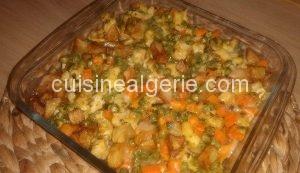 Légumes et blanc de poulet sautés au four
