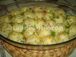 Boulettes de pommes de terre à la crème (plat palestinien)